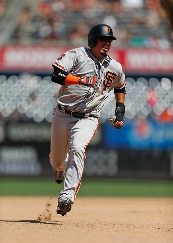 San Francisco Giants Ramiro Pena rounds second base during the 6th inning at Yankee Stadium.