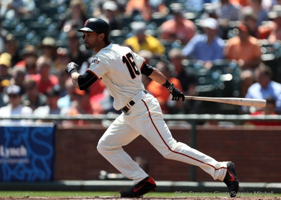 Angel Pagan doubles in the first inning.
