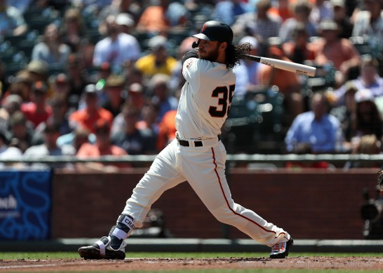 Brandon Crawford doubles to score Buster Posey in the first inning.
