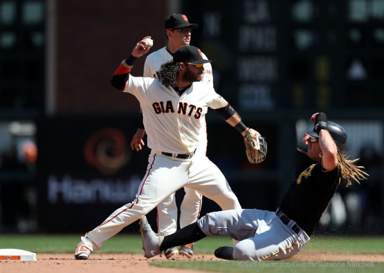 Brandon Crawford tags out John Jaso and throws out Jordy Mercer in the eighth inning.