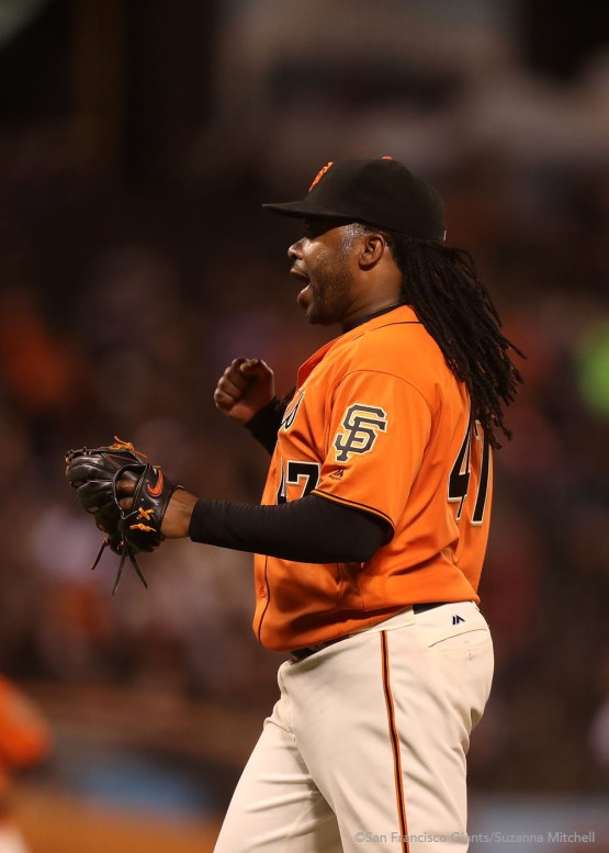 Johnny Cueto reacts after pitching the seventh inning.