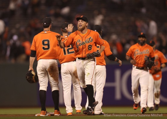 Hunter Pence celebrates at the end of the game.