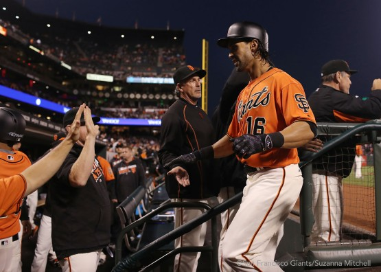 Angel Pagan celebrates after homering in the second inning.
