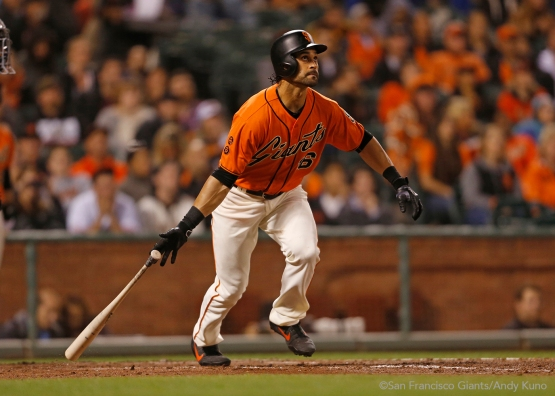 Angel Pagan hits a home run during the second inning.