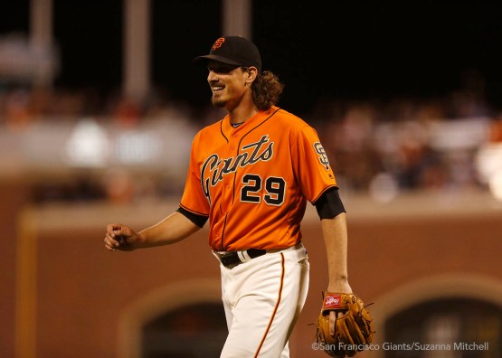 Jeff Samardzija leaves the mound after pitching the sixth inning.