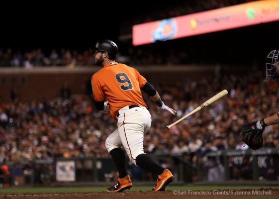 Brandon Belt doubles in the fifth inning.