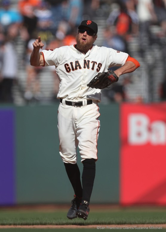 Hunter Pence celebrates after the final out.
