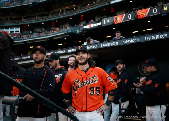 San Francisco Giants Brandon Crawford and teammates watch video highlights of his historic 7 hit night against the Marlins.