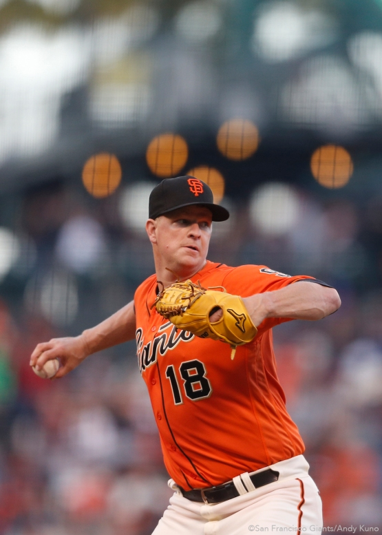 San Francisco Giants starting pitcher Matt Cain throws to first base during the 1st inning.
