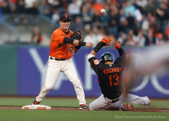 San Francisco Giants second baseman Joe Panik turns a 1st inning double play.