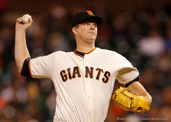Matt Cain pitches in the ninth inning.