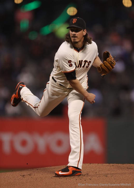 Jeff Samardzija pitches in the first inning.