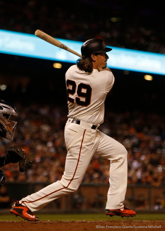 Jeff Samardzija doubles in the fifth inning.