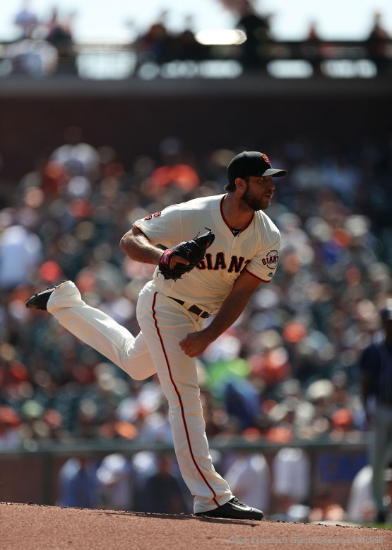 Madison Bumgarner pitches during the first inning.