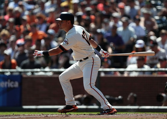 Joe Panik singles in the second inning.