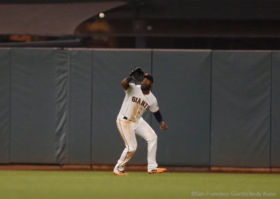 Denard Span catches a fly ball in center field hit by Cristian Adames in the seventh inning.
