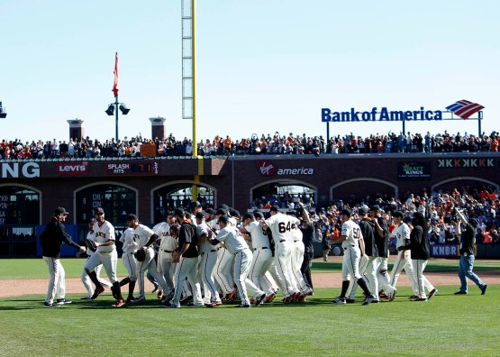 The team celebrates after clinching a position in the Wild Card game.