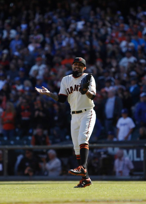 Sergio Romo celebrates after the final out of the ninth inning.