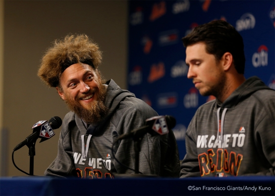 Hunter Pence and Buster Posey answer questions during a press conference.