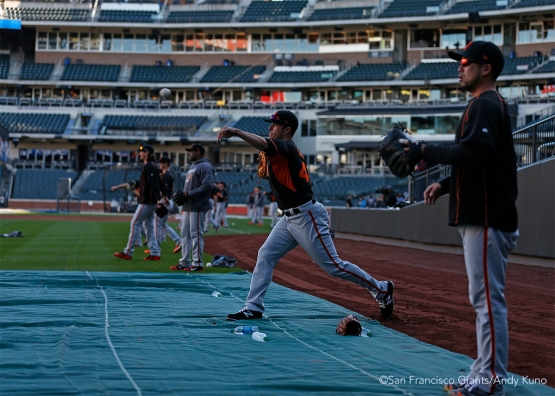 Javier Lopez plays catch.