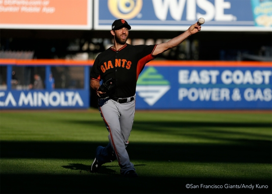 Madison Bumgarner prepares to start the game tomorrow.