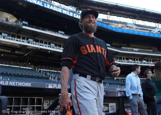 Hunter Pence enters the field for batting practice.