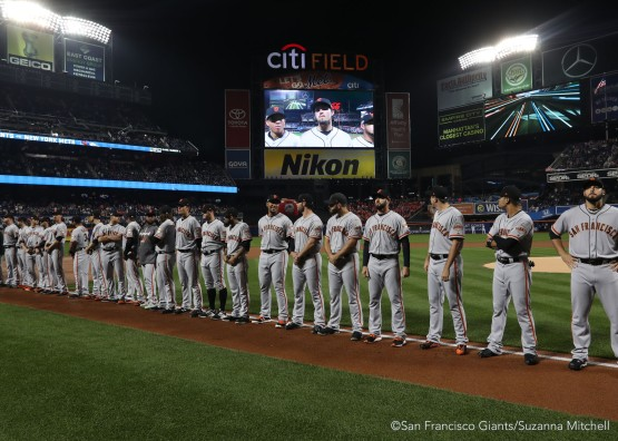 The team lines up during the pregame ceremony.