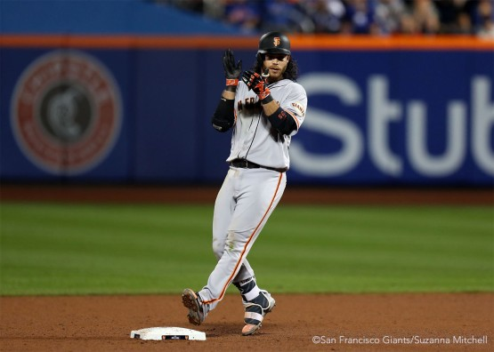 Brandon Crawford doubles in the ninth inning.
