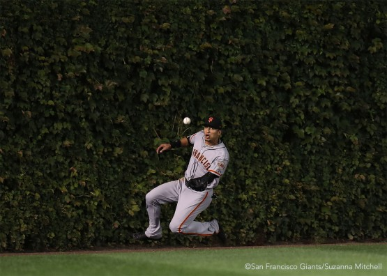 Gorkys Hernandez catches a fly ball in center field in the third inning.