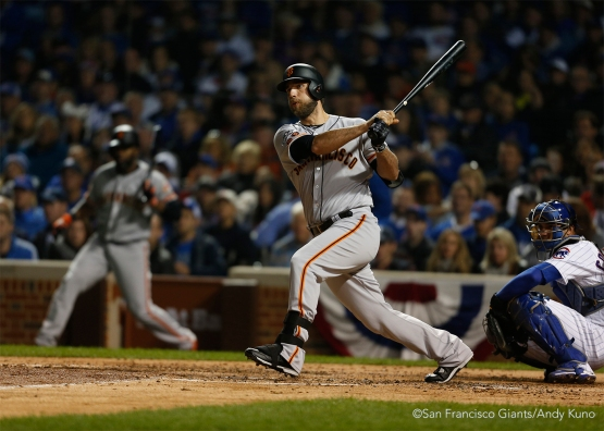 Madison Bumgarner pinch hit in the fifth inning.  He hit into an error made by Kris Bryant and made it to second base.