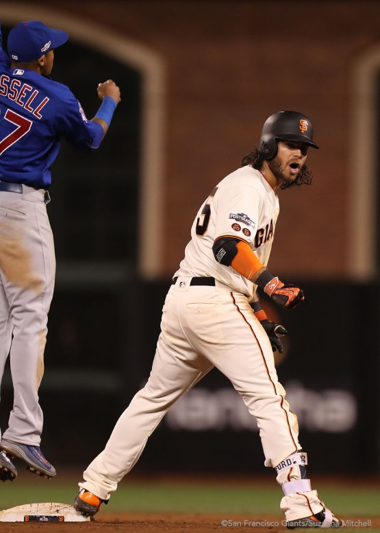 Brandon Crawford doubles in the thirteenth inning.