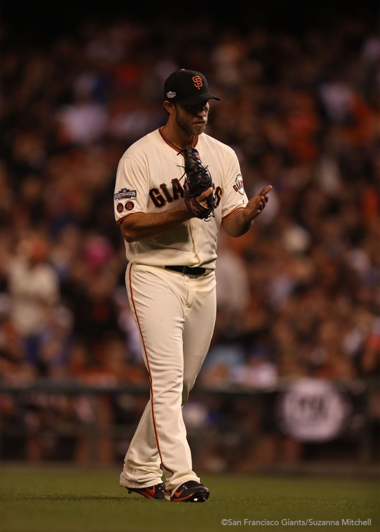 Madison Bumgarner leaves the mound after pitching during the fifth inning.