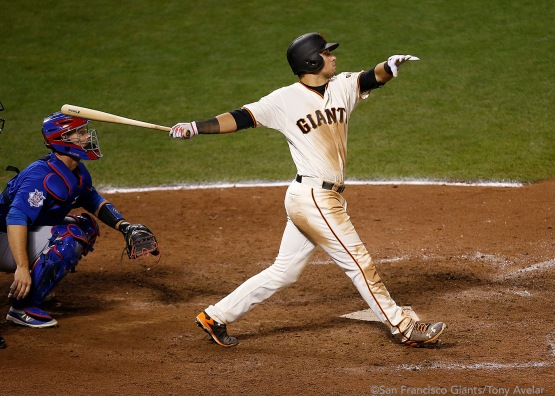 Joe Panik doubles in the thirteenth inning.